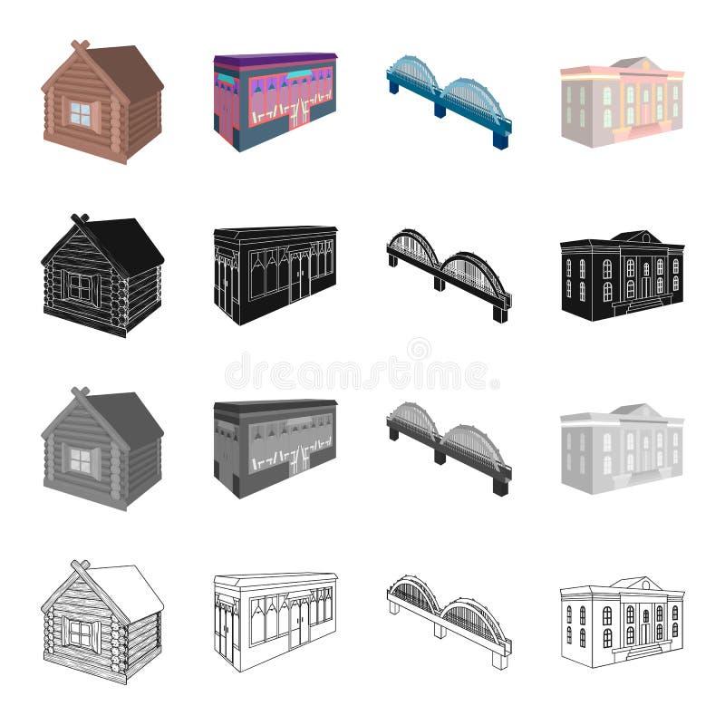 Κατοικημένου, οικοδόμησης, και άλλου Ιστού εικονίδιο σπιτιών, στο ύφος κινούμενων σχεδίων Διοικητικός, μουσεία, θέατρο, εικονίδια διανυσματική απεικόνιση