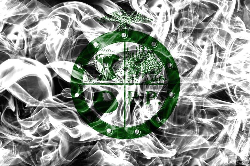 Κατουρήστε σημαία καπνού πόλεων δήμων κατουρήματος, κράτος του Οχάιου, Πολιτεία του Α στοκ φωτογραφία