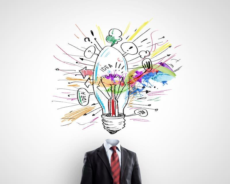 Κατοχή της μεγάλης ιδέας στο κεφάλι απεικόνιση αποθεμάτων