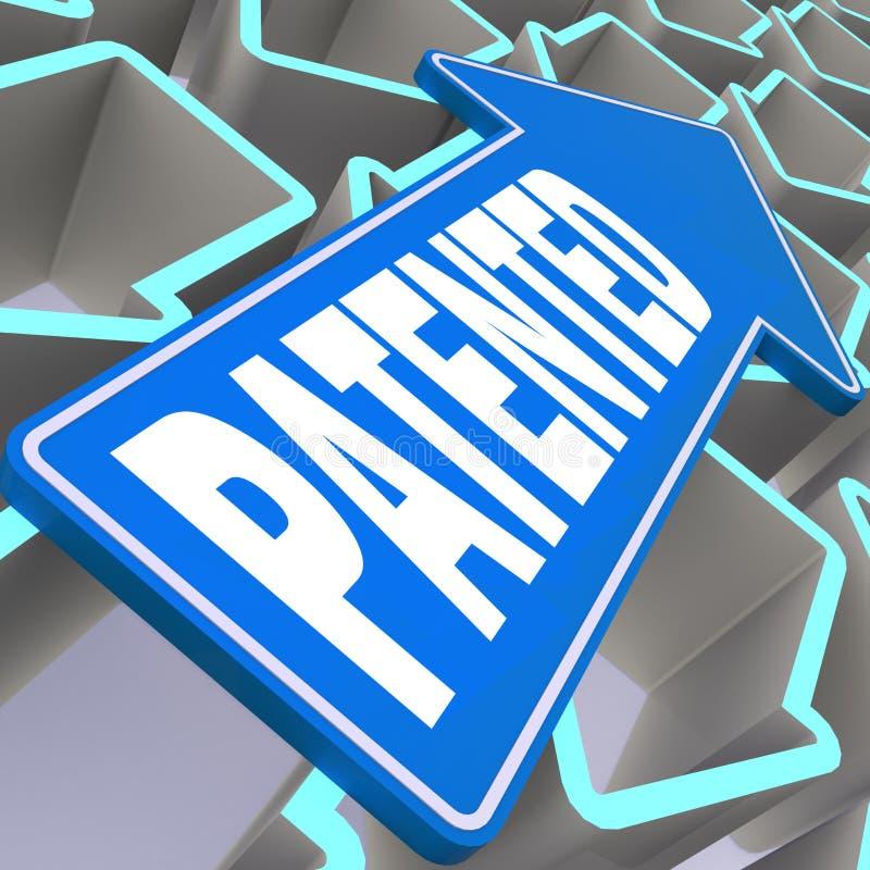 Κατοχυρωμένη με δίπλωμα ευρεσιτεχνίας λέξη με το μπλε βέλος απεικόνιση αποθεμάτων