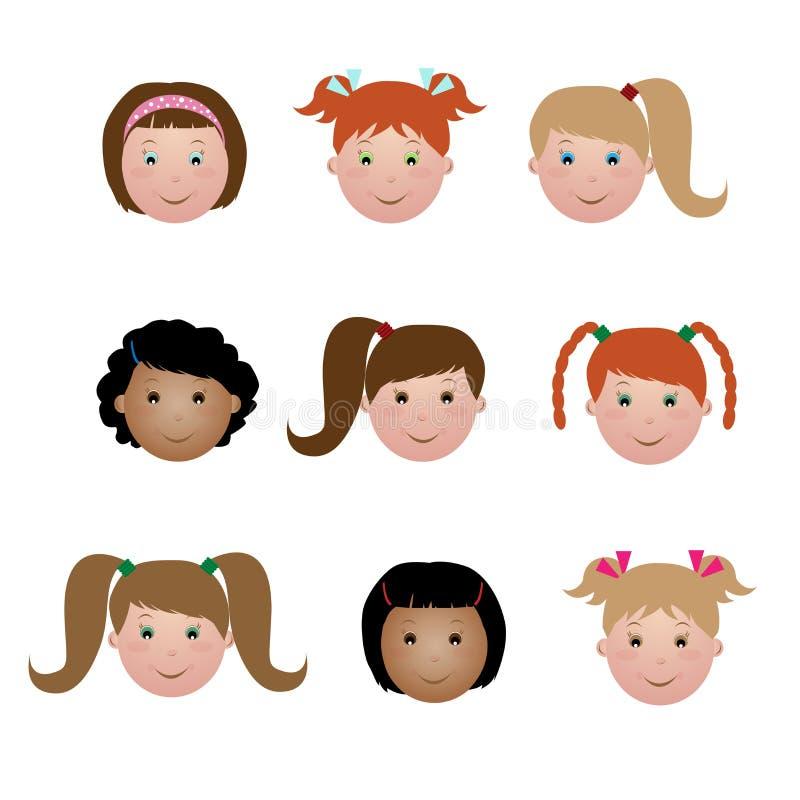 κατσίκια κοριτσιών προσώπ& ελεύθερη απεικόνιση δικαιώματος