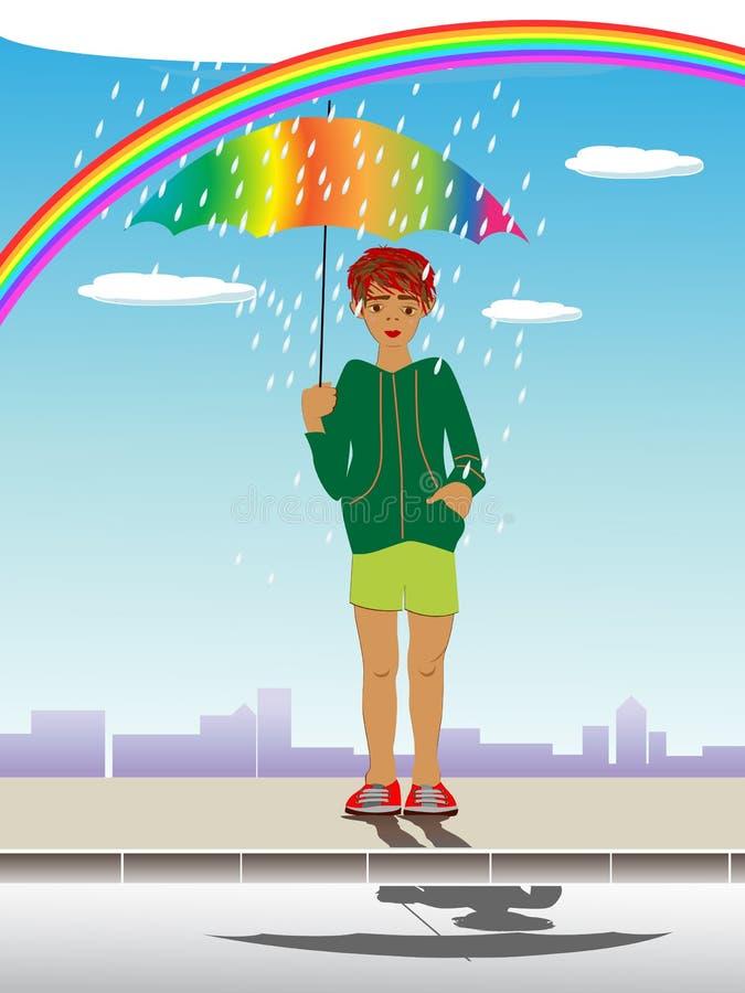 Κατσίκι με την ομπρέλα ελεύθερη απεικόνιση δικαιώματος
