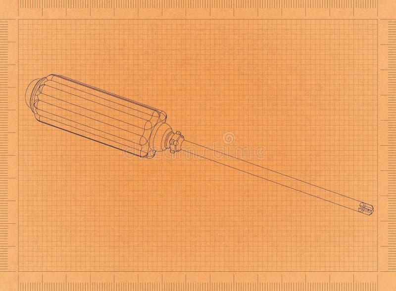 Κατσαβίδι - αναδρομικό σχεδιάγραμμα ελεύθερη απεικόνιση δικαιώματος