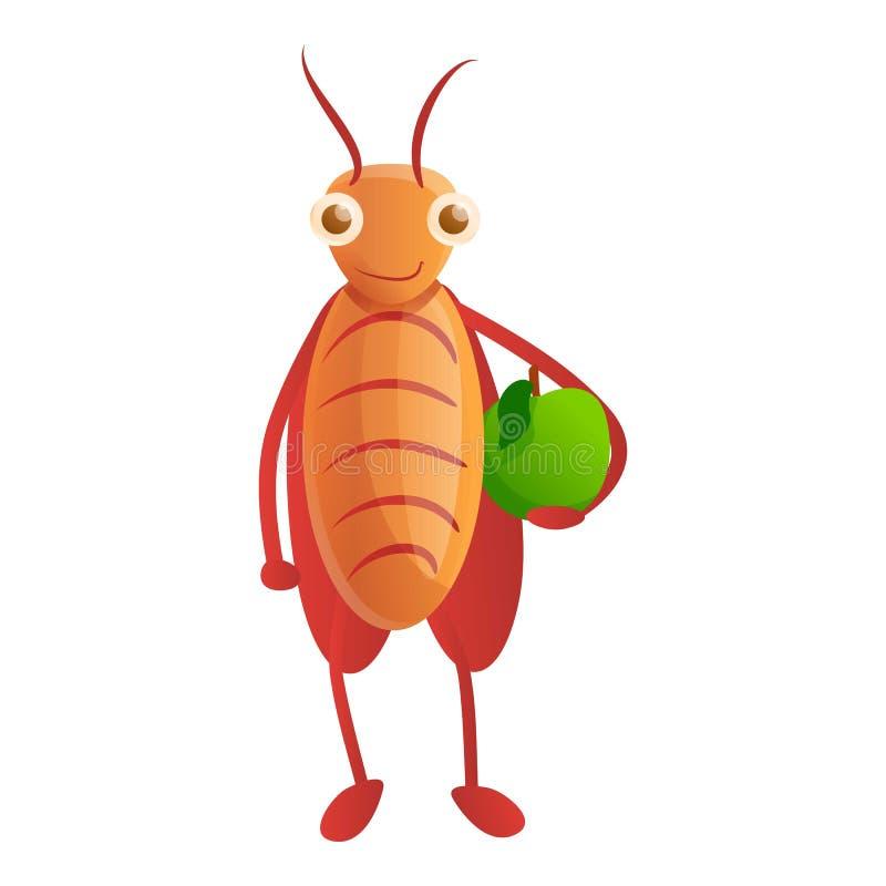 Κατσαρίδα με το πράσινο εικονίδιο μήλων, ύφος κινούμενων σχεδίων απεικόνιση αποθεμάτων
