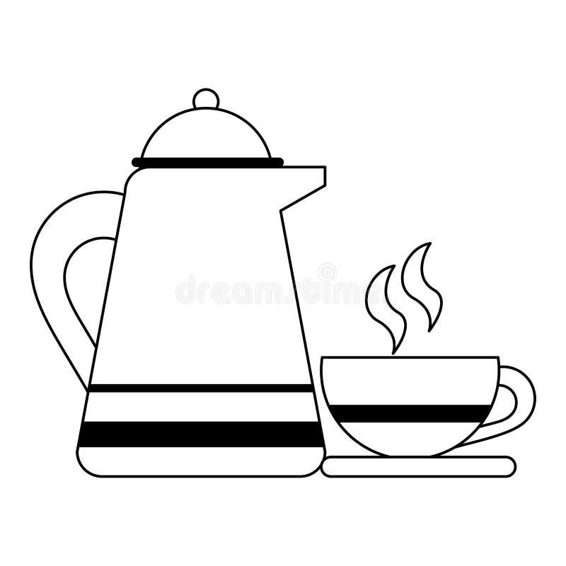 Κατσαρόλα και κούπα καφέ στο πιάτο γραπτό απεικόνιση αποθεμάτων