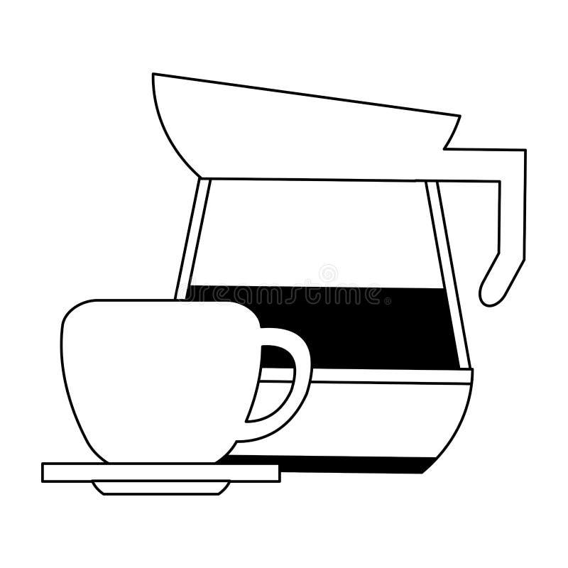Κατσαρόλα και κούπα καφέ στο πιάτο σε γραπτό διανυσματική απεικόνιση