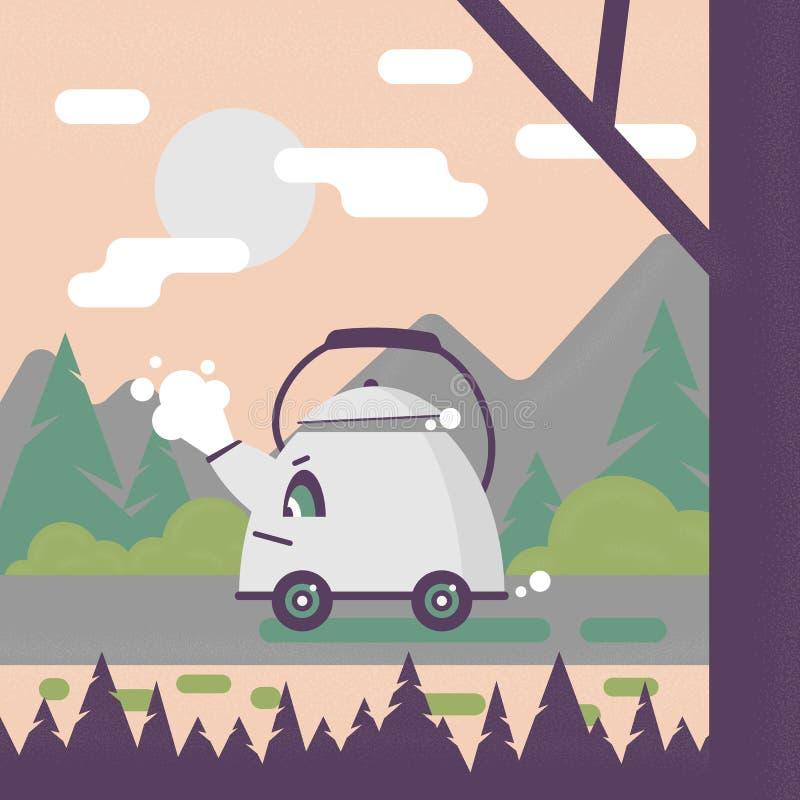 Κατσαρόλα πίσω από τη ρόδα Αφίσα χιούμορ διανυσματική απεικόνιση