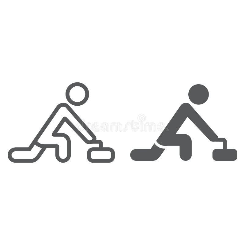 Κατσαρώνοντας γραμμή παιχνιδιών και glyph εικονίδιο, αθλητισμός και χειμώνας, σημάδι αθλητών ρόλερ, διανυσματική γραφική παράστασ διανυσματική απεικόνιση