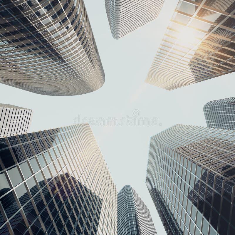 Κατώτατη άποψη των σύγχρονων ουρανοξυστών στο εμπορικό κέντρο στο φως βραδιού στο ηλιοβασίλεμα Βιομηχανική αρχιτεκτονική, επιχείρ απεικόνιση αποθεμάτων