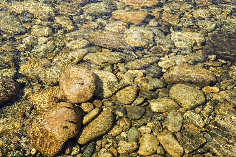 Κατώτατο σημείο ποταμών, πέτρες στον ποταμό, πετρώδης, βόρειος ποταμός, στοκ εικόνες