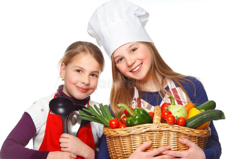 κατώτερα λαχανικά χαμόγελου μαγείρων στοκ εικόνες