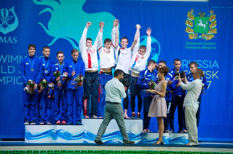 31 07 2017 - 07 08 κατώτερα πρωταθλήματα 15ων κόσμων Finswimming του 2017 |Τομσκ στοκ φωτογραφία