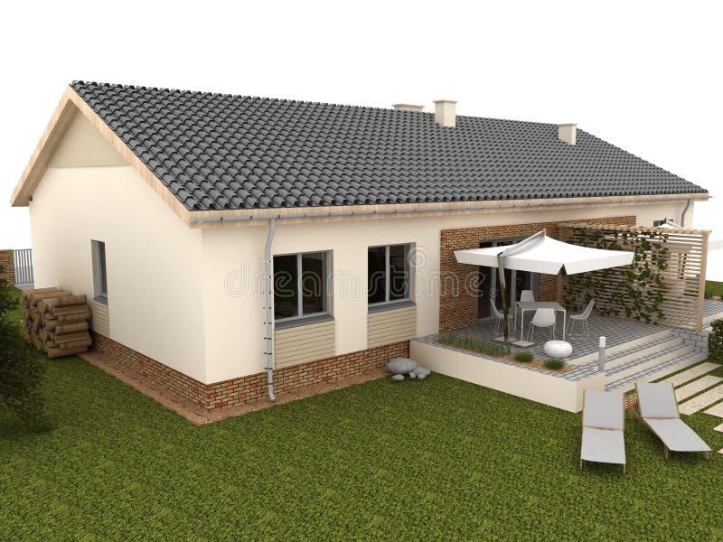 Κατώφλι του σύγχρονου σπιτιού με το πεζούλι και τον κήπο στοκ φωτογραφία με δικαίωμα ελεύθερης χρήσης