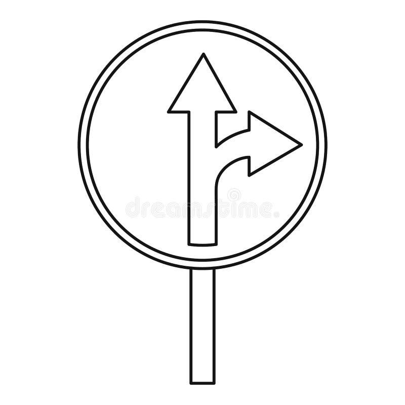 Κατ' ευθείαν ή δεξιά εικονίδιο σημαδιών κυκλοφορίας στροφής μπροστά διανυσματική απεικόνιση