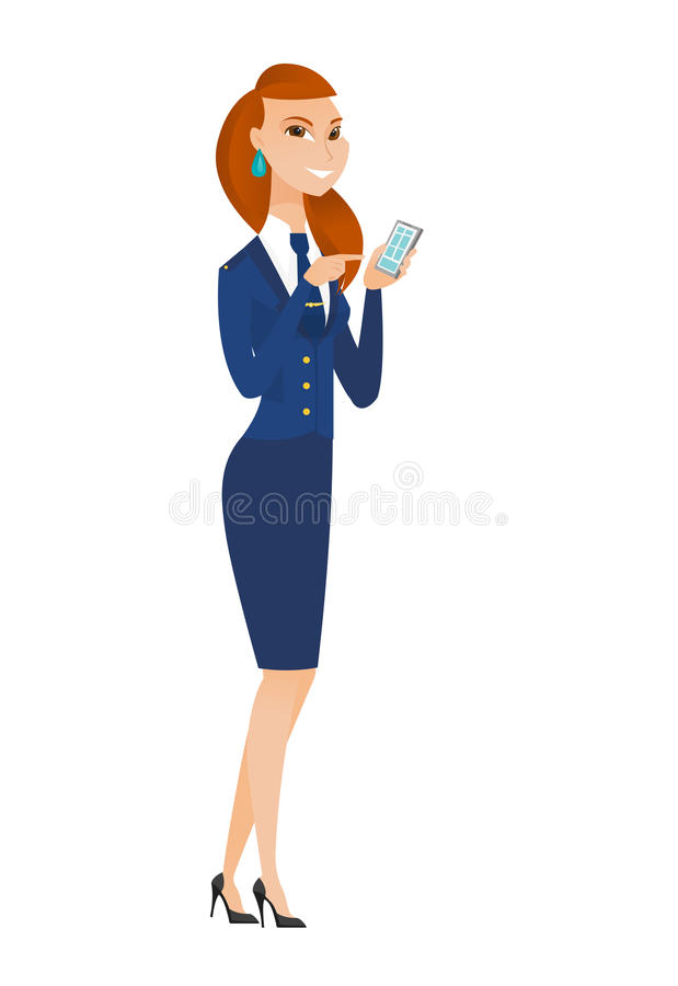 Καυκάσια αεροσυνοδός που κρατά ένα κινητό τηλέφωνο ελεύθερη απεικόνιση δικαιώματος