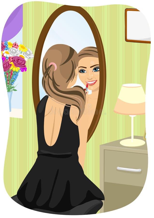 Καυκάσια γυναίκα στο μαύρο φόρεμα που εφαρμόζει το κραγιόν που εξετάζει τον καθρέφτη στην κρεβατοκάμαρα απεικόνιση αποθεμάτων