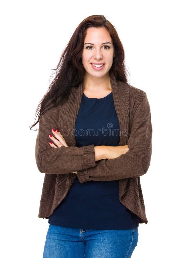 Καυκάσια γυναίκα crosshand στοκ εικόνες