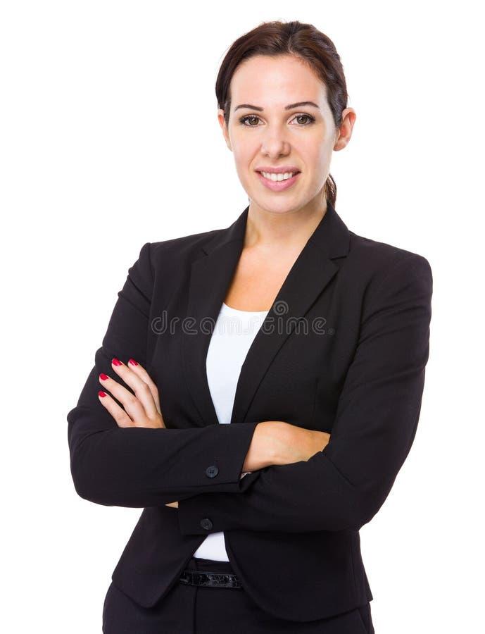 Καυκάσια επιχειρηματίας crosshand στοκ εικόνα με δικαίωμα ελεύθερης χρήσης