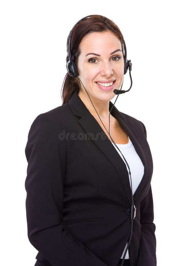 Καυκάσια θηλυκή εξυπηρέτηση πελατών στοκ εικόνα με δικαίωμα ελεύθερης χρήσης