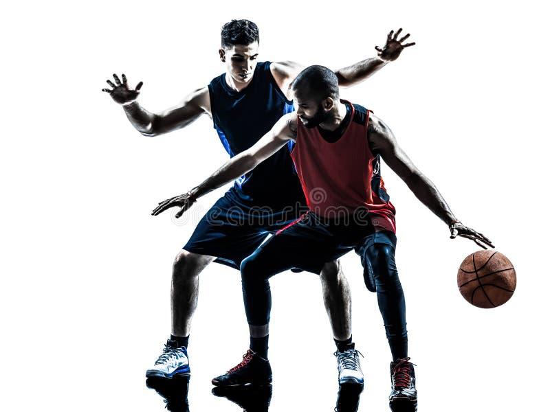 Καυκάσια και αφρικανική σκιαγραφία ατόμων παίχτης μπάσκετ στοκ φωτογραφίες