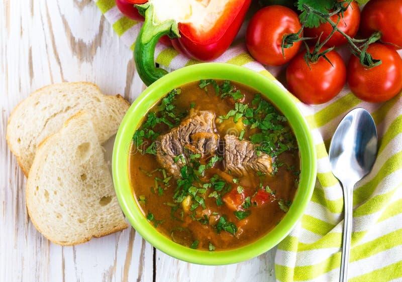 Καυκάσια σούπα Shurpa αρνιών ή βόειου κρέατος με τα λαχανικά στοκ φωτογραφία με δικαίωμα ελεύθερης χρήσης