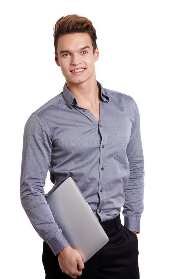 Καυκάσια χρήση ατόμων του φορητού προσωπικού υπολογιστή στοκ εικόνες