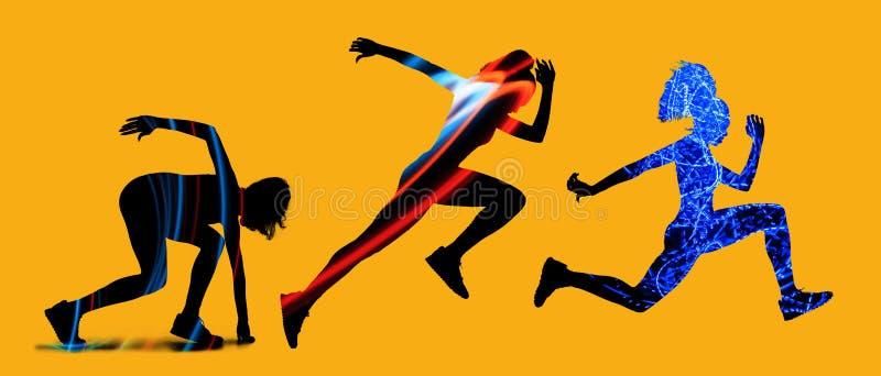 Καυκάσιες γυναίκες που τρέχουν στο κίτρινο υπόβαθρο στοκ εικόνες