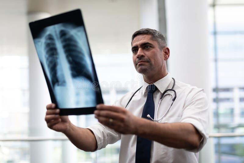Καυκάσιος αρσενικός γιατρός που εξετάζει την ακτίνα X στην κλινική στοκ φωτογραφία