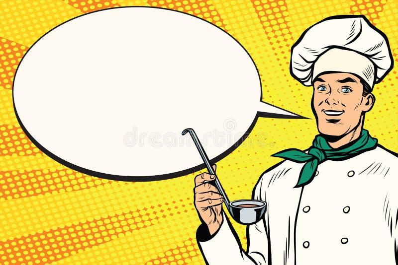 Καυκάσιος αρχιμάγειρας με την κουτάλα για το μαγείρεμα, κωμική φυσαλίδα διανυσματική απεικόνιση