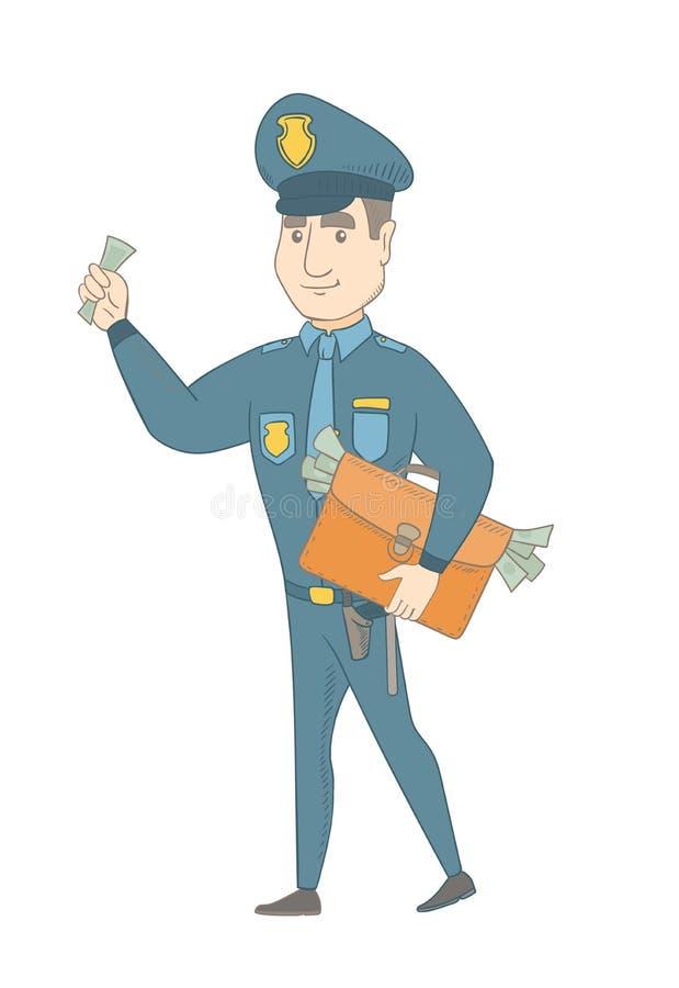 Καυκάσιος αστυνομικός με το σύνολο χαρτοφυλάκων των χρημάτων διανυσματική απεικόνιση