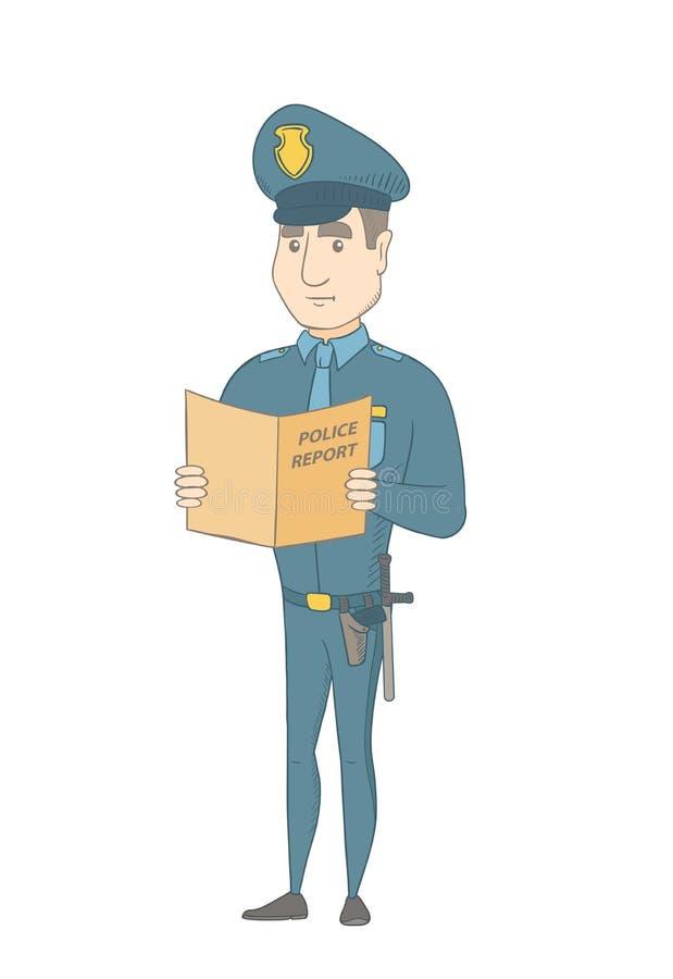 Καυκάσιος αστυνομικός που κρατά μια έκθεση αστυνομίας απεικόνιση αποθεμάτων