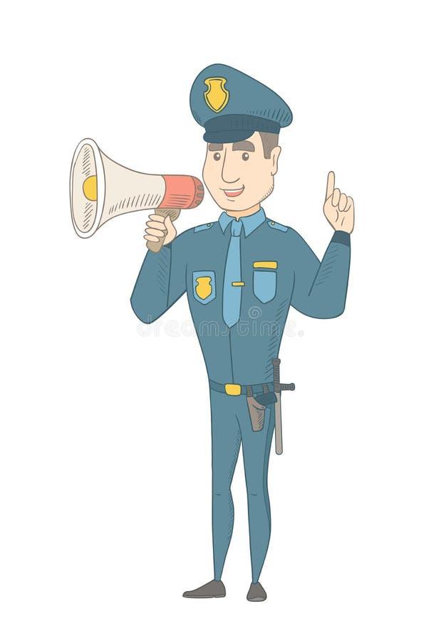 Καυκάσιος αστυνομικός που μιλά στο μεγάφωνο διανυσματική απεικόνιση