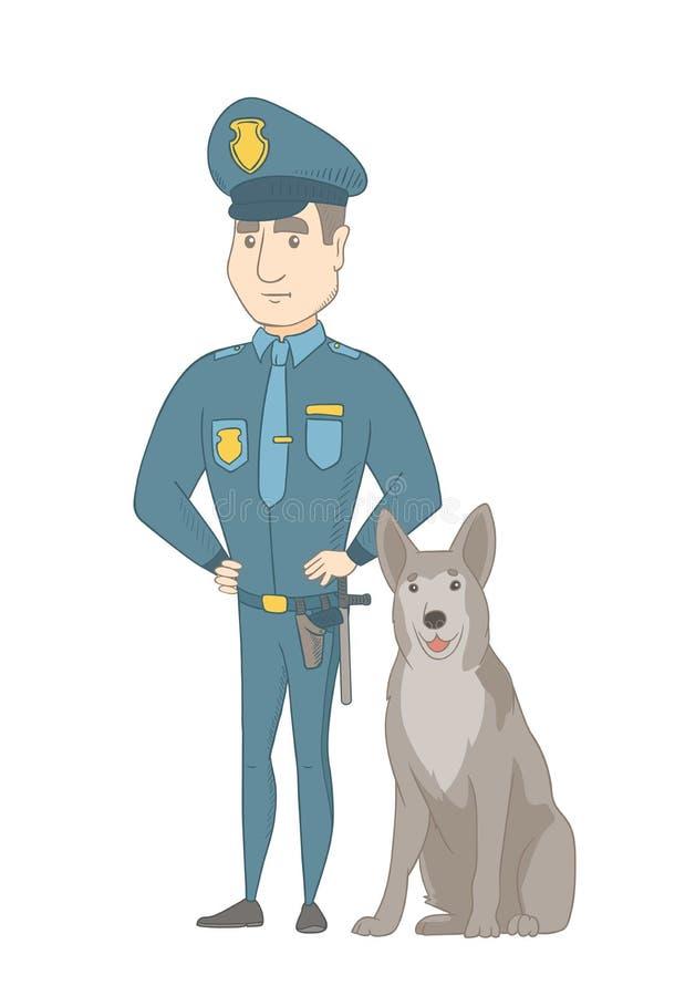 Καυκάσιος αστυνομικός που στέκεται κοντά στο σκυλί αστυνομίας διανυσματική απεικόνιση