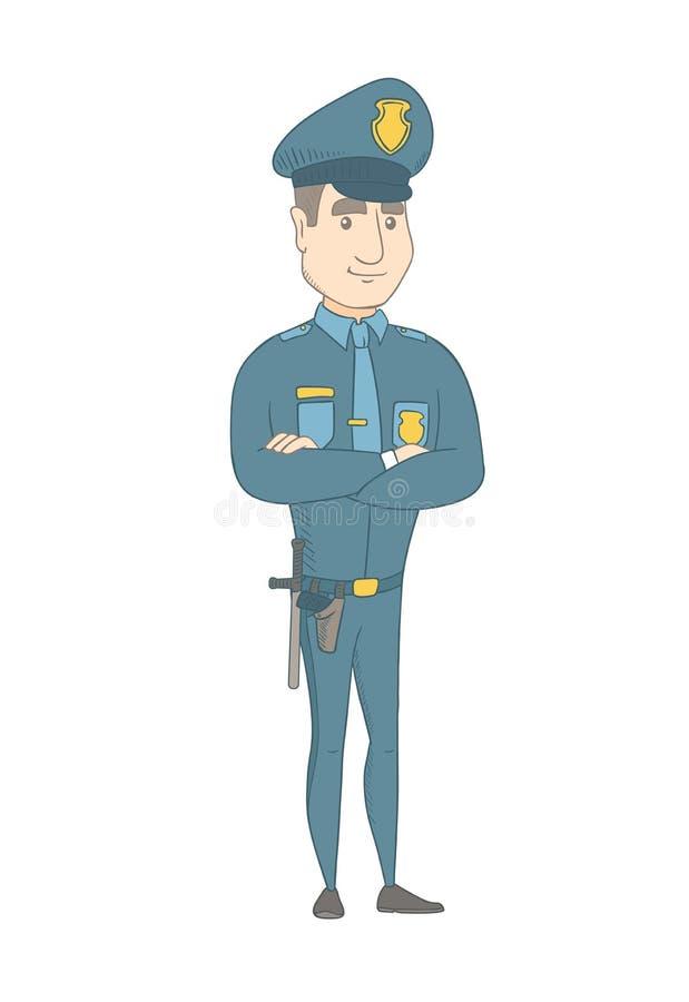 Καυκάσιος αστυνομικός που στέκεται με τα διπλωμένα όπλα απεικόνιση αποθεμάτων