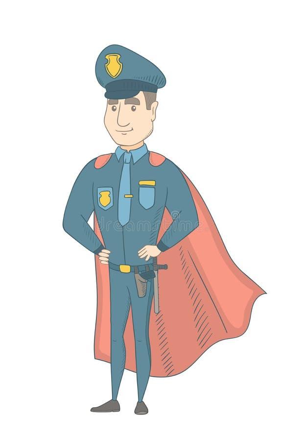 Καυκάσιος αστυνομικός που φορά έναν κόκκινο επενδύτη superhero απεικόνιση αποθεμάτων