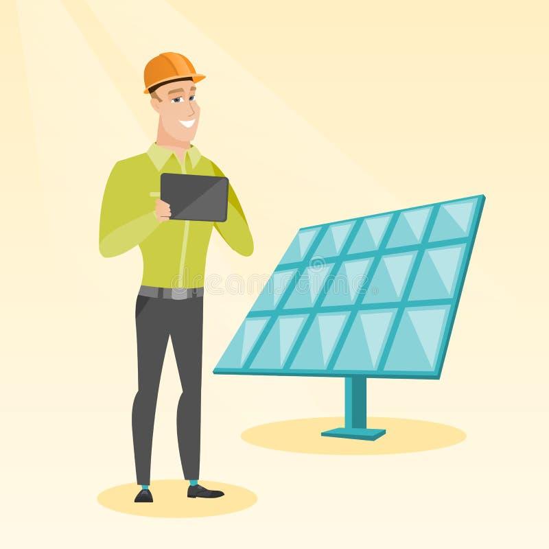 Καυκάσιος εργαζόμενος των εγκαταστάσεων ηλιακής ενέργειας ελεύθερη απεικόνιση δικαιώματος