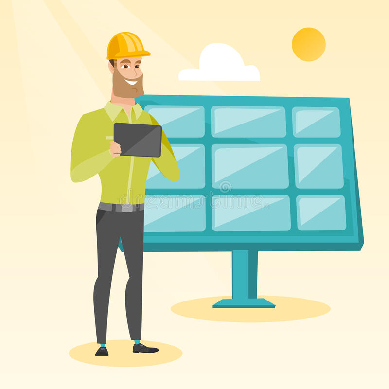 Καυκάσιος εργαζόμενος των εγκαταστάσεων ηλιακής ενέργειας διανυσματική απεικόνιση