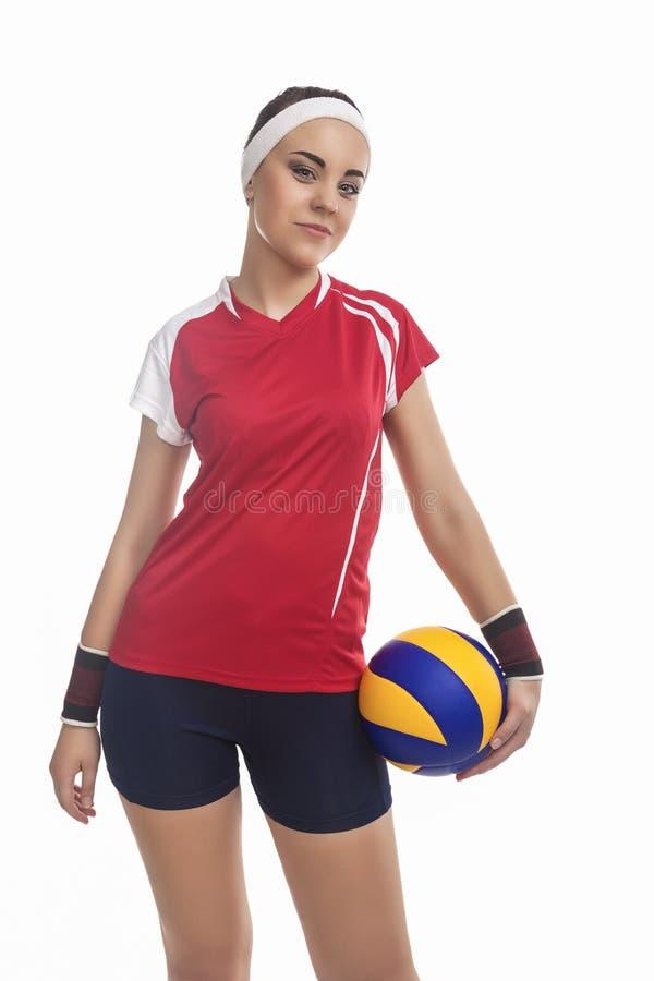Καυκάσιος θηλυκός φορέας πετοσφαίρισης που εξοπλίζεται σε επαγγελματικό Spor στοκ εικόνα με δικαίωμα ελεύθερης χρήσης