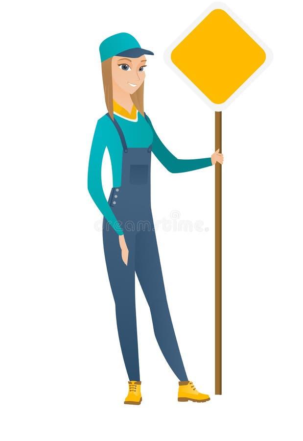 Καυκάσιος οδικός εργαζόμενος που παρουσιάζει οδικό σημάδι απεικόνιση αποθεμάτων