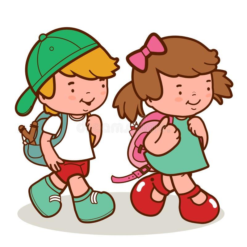Καυκάσιος περίπατος παιδιών στο σχολείο ελεύθερη απεικόνιση δικαιώματος