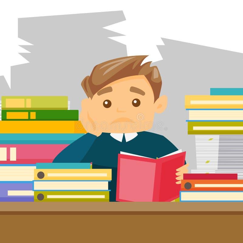 Καυκάσιος σπουδαστής που μελετά σκληρά πριν από τους διαγωνισμούς ελεύθερη απεικόνιση δικαιώματος