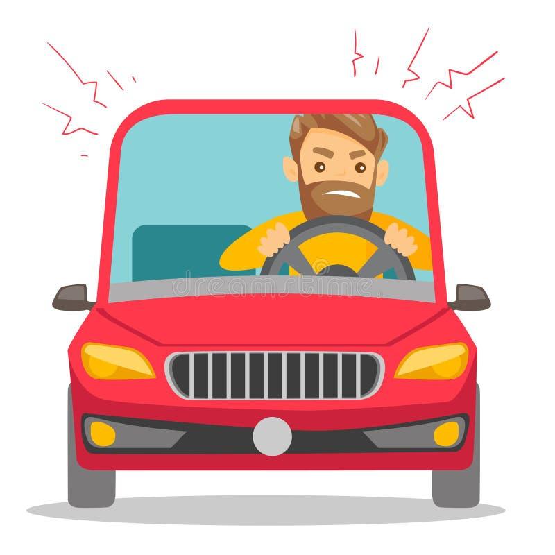 Καυκάσιο άτομο στο αυτοκίνητο που κολλιέται στην κυκλοφοριακή συμφόρηση διανυσματική απεικόνιση
