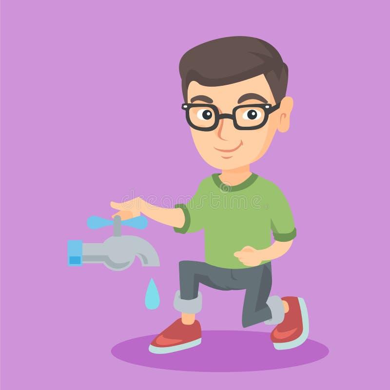 Καυκάσιο αγόρι που κλείνει τη βρύση για να σώσει το νερό διανυσματική απεικόνιση