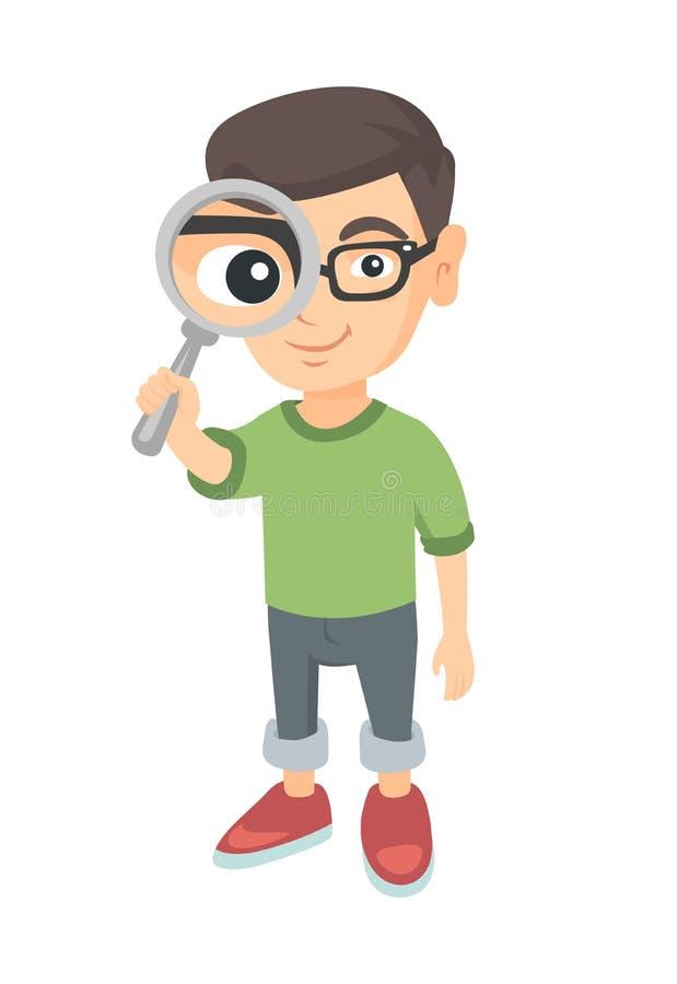 Καυκάσιο αγόρι που κοιτάζει μέσω μιας ενίσχυσης - γυαλί απεικόνιση αποθεμάτων