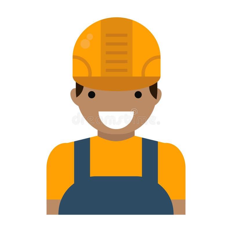 Καυκάσιο βέβαιο άτομο οικοδόμων χαρακτήρα νέο στις σκληρές απεικονίσεις σχεδίου καπέλων διανυσματικές επίπεδες που απομονώνονται  διανυσματική απεικόνιση
