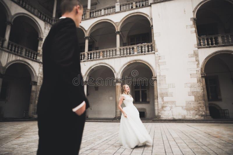 Καυκάσιο ευτυχές ρομαντικό νέο ζεύγος που γιορτάζει το γάμο τους υπαίθριος στοκ φωτογραφίες