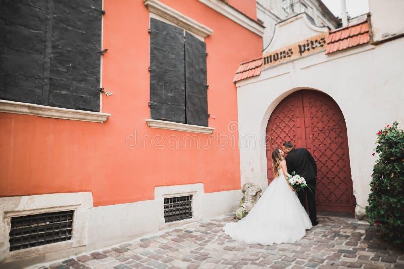 Καυκάσιο ευτυχές ρομαντικό νέο ζεύγος που γιορτάζει το γάμο τους Υπαίθριος στοκ φωτογραφία με δικαίωμα ελεύθερης χρήσης