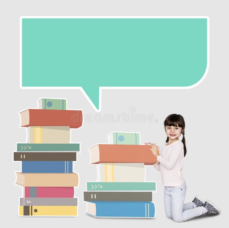 Καυκάσιο κορίτσι με τους σωρούς των βιβλίων στοκ φωτογραφίες με δικαίωμα ελεύθερης χρήσης