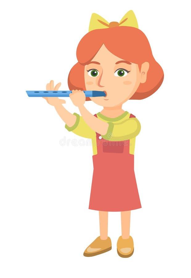 Καυκάσιο μικρό κορίτσι που παίζει το φλάουτο ελεύθερη απεικόνιση δικαιώματος