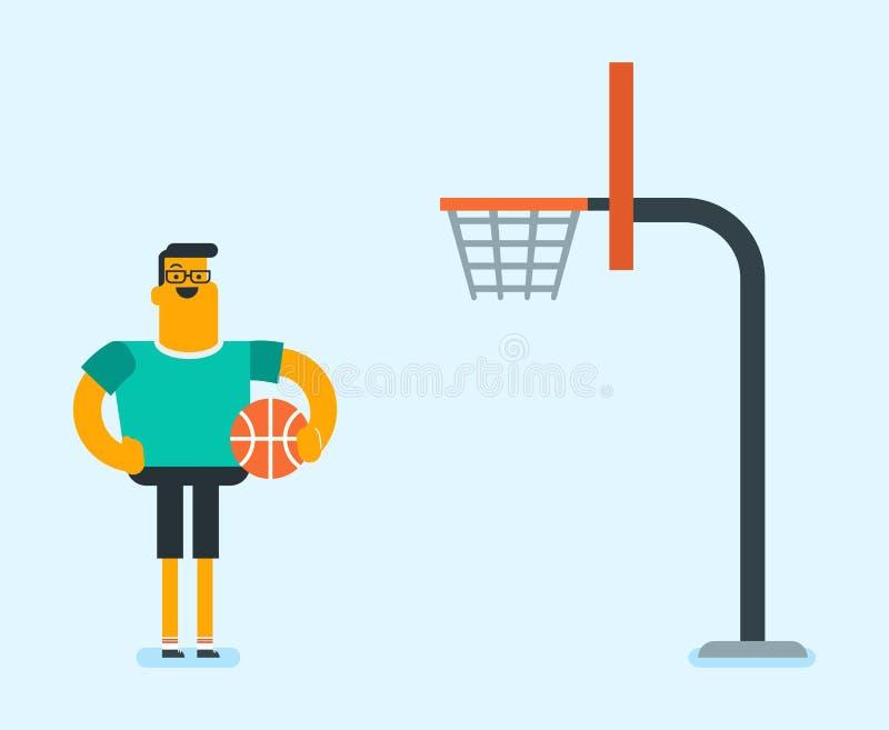 Καυκάσιο παίχτης μπάσκετ που στέκεται στο δικαστήριο απεικόνιση αποθεμάτων